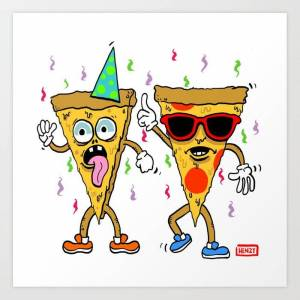 Society6 Pizza Party Art Print by Pat Henzy - X-LARGE