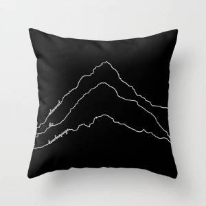 """Society6 Tallest Mountains In The World / Mt Everest K2 Kanchenjunga / B&w Minimalist Line Drawing Art Print Couch Throw Pillow by 88mountainstate - Cover (16"""""""