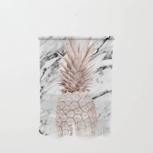 """Society6 Rose Gold Pineapple On Black And White Marble Wall Hanging by Simple Luxe - Small 11 1/4"""" x 15 1/2"""""""