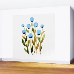 Society6 Simple Watercolor Flowers - Blue And Sap Green Wall Mural by Angela Minca - 8' X 8'