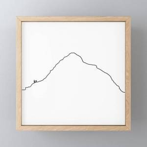 "Society6 K2 Art Print / White Background Black Line Minimalist Mountain Sketch Framed Mini Art Print by 88mountainstate - Light Wood - 4"" x 4"""
