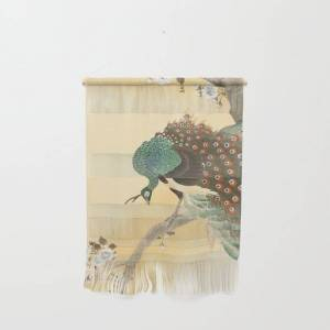 "Society6 Peacock On A Cherry Tree - Vintage Japanese Woodblock Print Wall Hanging by Vintagejapaneseart - Small 11 1/4"" x 15 1/2"""