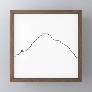 "Society6 K2 Art Print / White Background Black Line Minimalist Mountain Sketch Framed Mini Art Print by 88mountainstate - Dark Wood - 4"" x 4"""