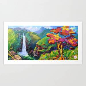 Society6 Waterfall, Mountains And Tree - Mural Art Print by Waitukubuli Artist Association - X-Small