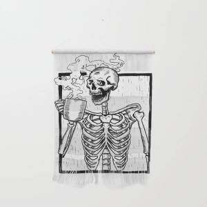 """Society6 Skeleton Drinking A Cup Of Coffee Wall Hanging by Original Dna Plus - Small 11 1/4"""" x 15 1/2"""""""