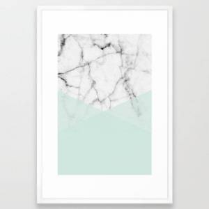 Society6 Real White Marble Half Mint Green Shapes Framed Art Print by 5mm Paper - Vector White - LARGE (Gallery)-26x38