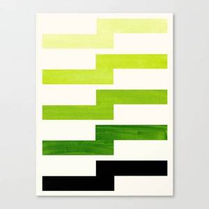 Society6 Minimalist Mid Century Modern Sap Green Watercolor Painting Lightning Bolt Zig Zag Pattern With Blac Canvas Print by Enshape - SMALL