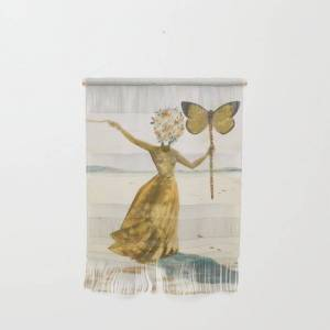 """Society6 Vintage Poster-salvador Dali-woman With A Butterfly. Wall Hanging by White Sheet - Small 11 1/4"""" x 15 1/2"""""""