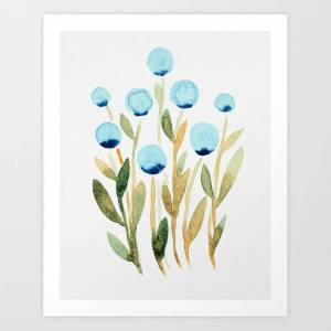 Society6 Simple Watercolor Flowers - Blue And Sap Green Art Print by Angela Minca - SMALL