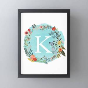 "Society6 Personalized Monogram Initial Letter K Blue Watercolor Flower Wreath Artwork Framed Mini Art Print by Aba2life - Black - 3"" x 4"""