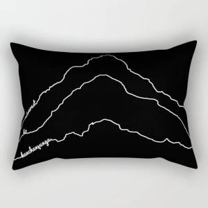 Society6 Tallest Mountains In The World / Mt Everest K2 Kanchenjunga / B&w Minimalist Line Drawing Art Print Rectangular Pillow by 88mountainstate - Large (25.