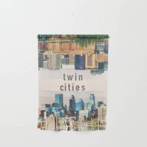 "Society6 Twin Cities Minneapolis And Saint Paul Minnesota Skylines Wall Hanging by Anthony Londer - Small 11 1/4"" x 15 1/2"""