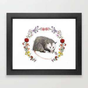 Society6 Opossum In Floral Wreath Framed Art Print by Mai S. Kemble - Vector Black - X-Small-10x12
