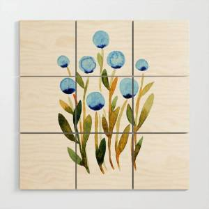 Society6 Simple Watercolor Flowers - Blue And Sap Green Wooden Wall Art by Angela Minca - 3' X 3'
