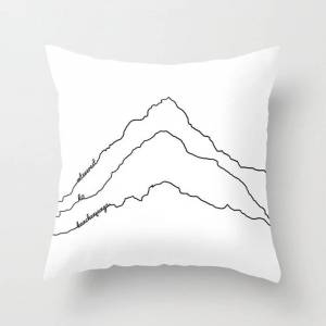 """Society6 Tallest Mountains In The World B&w / Mt Everest K2 Kanchenjunga / Minimalist Line Drawing Art Print Couch Throw Pillow by 88mountainstate - Cover (16"""""""