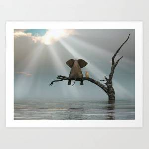 Society6 Elephant And Dog Sit On A Tree During A Flood Art Print by Mike_kiev - X-Small