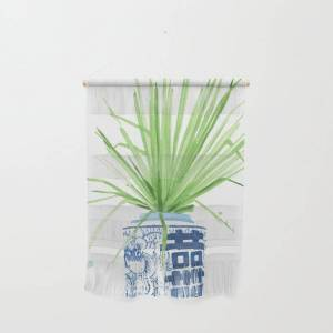 """Society6 Ginger Jar + Fan Palm Wall Hanging by The Aestate - Small 11 1/4"""" x 15 1/2"""""""