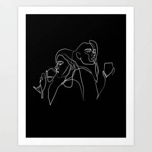 Society6 Drinking Wine, Feeling Fine Art Print by Lucia Mercedes - X-Small