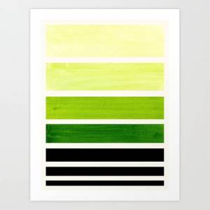 Society6 Sap Green Minimalist Mid Century Staggered Stripes Rothko Color Block Geometric Art Art Print by Enshape - SMALL