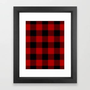 Society6 Red Buffalo Check Plaid Framed Art Print by Billy & Pat - Vector Black - X-Small-10x12
