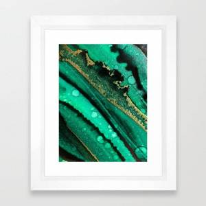 Society6 Malachite Inspired Alcohol Ink Painting With Flecks Of Gold And Hints Of Black And Emerald Green Framed Art Print by Natasha_kramskaya_art - Vector Wh