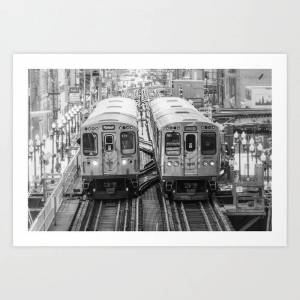 Society6 Black And White Chicago Train El Train Above Wabash Ave The Loop Windy City Art Print by Enzwell Artworks - X-Small