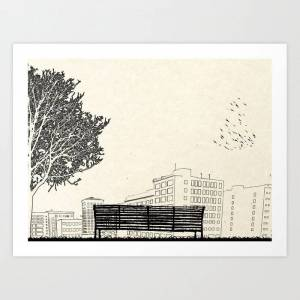 Society6 Tom's Favourite Spot -- angels Knoll Park, La -- (500) Days Of Summer Art Print by Martin Lucas - LARGE