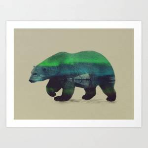 Society6 Polar Bear In Northern Lights Art Print by Andreas Lie - LARGE