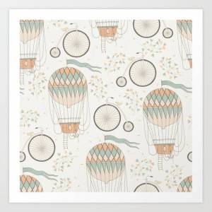 Society6 Vintage Wonderland - Hot Air Balloon Art Print by Shirts And Date Of Birth-by-frankenberg - X-LARGE