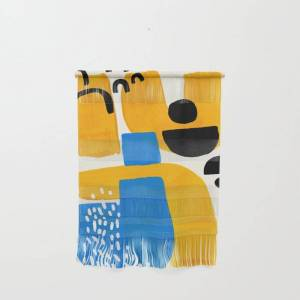 """Society6 Mid Century Modern Abstract Minimalist Fun Colorful Shapes Patterns Ikea Yellow & Blue Wall Hanging by Enshape - Small 11 1/4"""" x 15 1/2"""""""