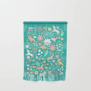"""Society6 Dinosaurs + Unicorns On Teal Wall Hanging by Lathe & Quill - Small 11 1/4"""" x 15 1/2"""""""