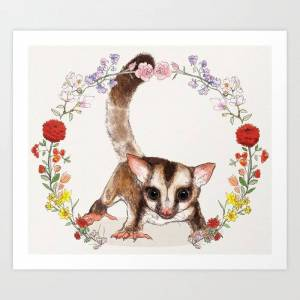 Society6 Sugar Glider In Flower Wreath Art Print by Mai S. Kemble - X-Small