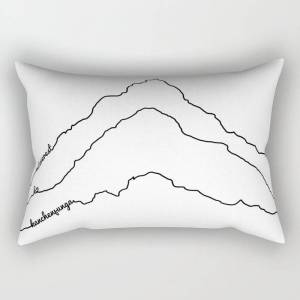 """Society6 Tallest Mountains In The World B&w / Mt Everest K2 Kanchenjunga / Minimalist Line Drawing Art Print Rectangular Pillow by 88mountainstate - Small (17"""""""