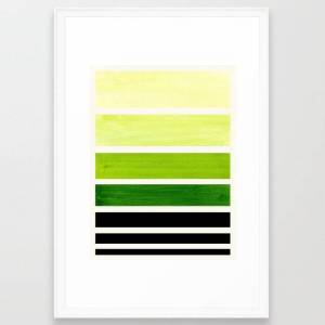 Society6 Sap Green Minimalist Mid Century Staggered Stripes Rothko Color Block Geometric Art Framed Art Print by Enshape - Scoop White - LARGE (Gallery)-26x38