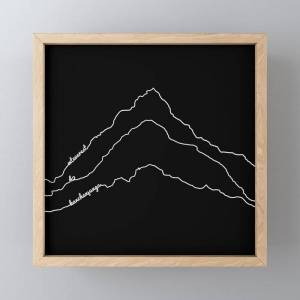 Society6 Tallest Mountains In The World / Mt Everest K2 Kanchenjunga / B&w Minimalist Line Drawing Art Print Framed Mini Art Print by 88mountainstate - Light W