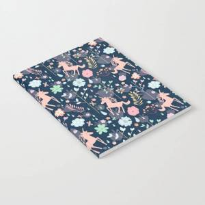 """Society6 Unicorns In Hesperides Notebook by Demi Goutte - Set of 3 6"""" x 8"""" Lined"""