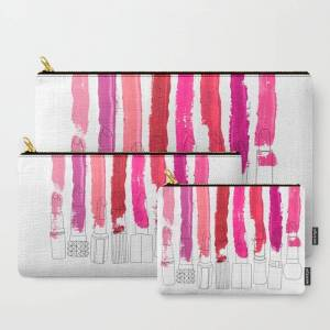 Society6 Lipstick Stripes - Floral Fuschia Red Carry All Pouch / Travel & Pencil Pouch by Notsniw - Set of 3