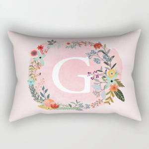 """Society6 Flower Wreath With Personalized Monogram Initial Letter G On Pink Watercolor Paper Texture Artwork Rectangular Pillow by Aba2life - Large (25.5"""" x 18"""""""