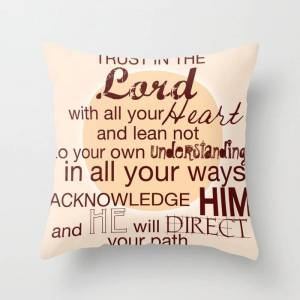 """Society6 Trust In The Lord With All Your Heart. Couch Throw Pillow by Lindsey S. Jordan Jr - Cover (16"""" x 16"""") with pillow insert - Indoor Pillow"""