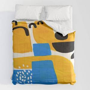 """Society6 Mid Century Modern Abstract Minimalist Fun Colorful Shapes Patterns Ikea Yellow & Blue Comforters by Enshape - King: 104"""" x 88"""" - Microfiber Polyester"""
