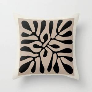 """Society6 Henri Matisse Cut Out Blacka Nd White Flowers Classic Abstract, Contemporary Art Couch Throw Pillow by Mini Mons - Cover (16"""" x 16"""") with pillow inser"""