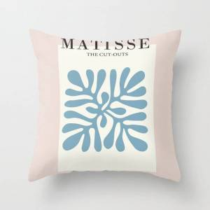 """Society6 Henri Matisse Abstract Cut Out Flower Lavender Minimal Contemporary Print Couch Throw Pillow by Mini Mons - Cover (16"""" x 16"""") with pillow insert - Ind"""