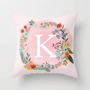 """Society6 Flower Wreath With Personalized Monogram Initial Letter K On Pink Watercolor Paper Texture Artwork Couch Throw Pillow by Aba2life - Cover (16"""" x 16"""")"""