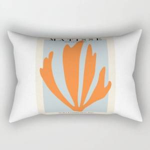 """Society6 Henri Matisse The Cut Outs Blue And Orange Contemporary, Modern Minimal Art Rectangular Pillow by Mini Mons - Small (17"""" x 12"""")"""