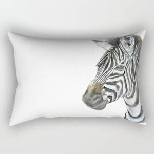 "Society6 Zebra Watercolor Painting - African Animal Painting Wildlife Head Bust Rectangular Pillow by Susan Windsor - Large (25.5"" x 18"")"