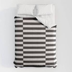 "Society6 Ikea Stockholm Rug Pattern - Black Stripe Black Comforters by Dizzy Moments - Queen: 88"" x 88"" - Microfiber Polyester"