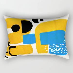 """Society6 Mid Century Modern Abstract Minimalist Fun Colorful Shapes Patterns Ikea Yellow & Blue Rectangular Pillow by Enshape - Small (17"""" x 12"""")"""