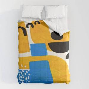 """Society6 Mid Century Modern Abstract Minimalist Fun Colorful Shapes Patterns Ikea Yellow & Blue Comforters by Enshape - Queen: 88"""" x 88"""" - Microfiber Polyester"""