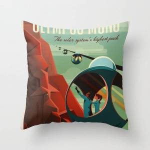 "Society6 Spacex Travel Poster: Olympus Mons, Mars Couch Throw Pillow by Public Domain Gallery - Cover (16"" x 16"") with pillow insert - Indoor Pillow"