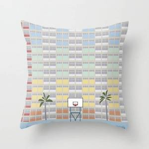 """Society6 Hong Kong Choi Hung Estate, Wong Tai Sin District, Kowloon Basketball Court Couch Throw Pillow by Lyman Creative Co. - Cover (16"""" x 16"""") with pillow i"""